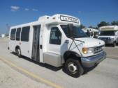 1998 General Coach Ford 13 Passenger and 2 Wheelchair Shuttle Bus Passenger side exterior front angle-08275-1