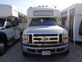 2008 Goshen Coach Ford F550 26 Passenger and 2 Wheelchair Shuttle Bus Passenger side exterior rear angle-09828-3